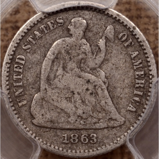 1863 Liberty Seated Half Dime PCGS VG8