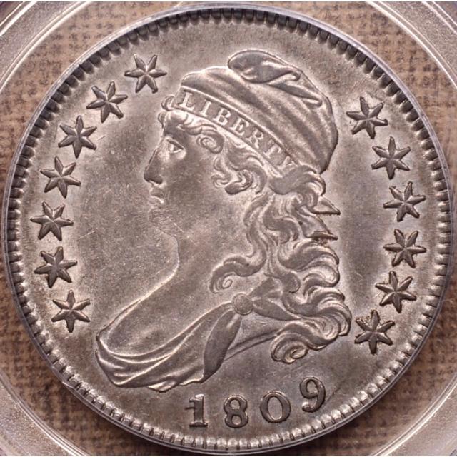 1809 O.105 Capped Bust Half Dollar PCGS AU50 CAC